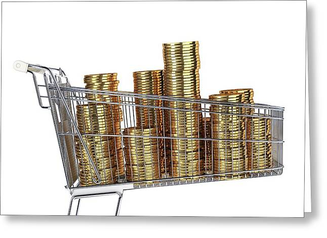 Gold Coins Inside A Supermarket Trolley Greeting Card by Leonello Calvetti