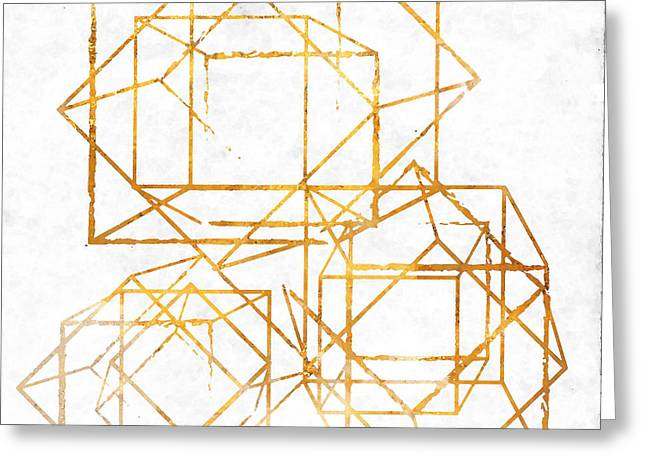 Gold Cubed I Greeting Card by South Social Studio