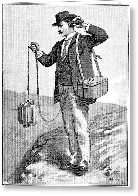 Surveying Greeting Cards - Gold detector, 1893 Greeting Card by Science Photo Library