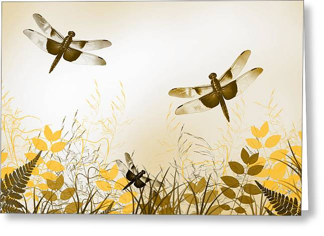 Gold Bug Greeting Cards - Gold Dragonfly Art Greeting Card by Christina Rollo