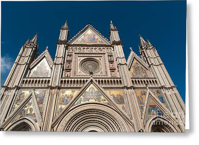 Orvieto Greeting Cards - gold facade of Duomo di Orvieto Unvria Greeting Card by Peter Noyce
