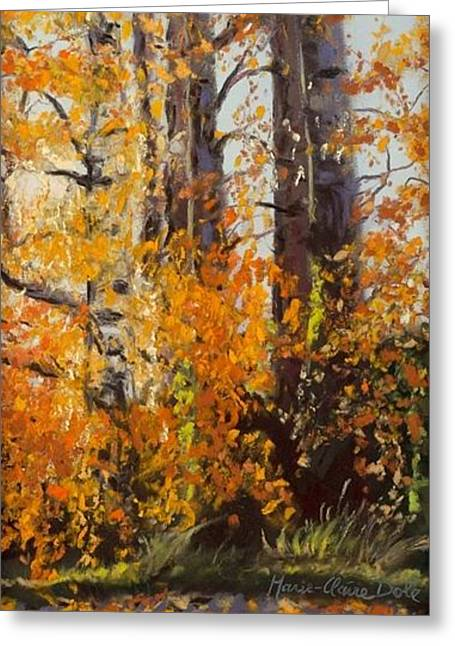 Birch Tree Pastels Greeting Cards - Gold Falling Greeting Card by Marie-Claire Dole
