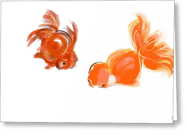 Enjoying Life Mixed Media Greeting Cards - Gold Fish 2 Greeting Card by Len YewHeng