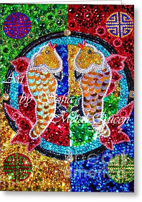 Fish Jewelry Greeting Cards - Gold fishes of good luck. Embroidery beadwork art Greeting Card by Sofia Metal Queen