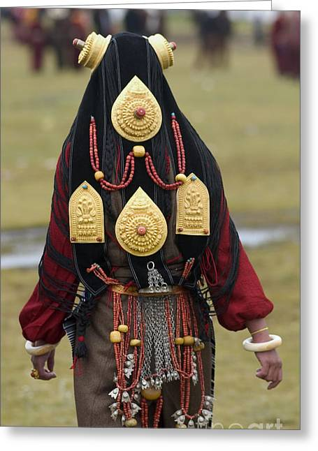 Tibetan Region Greeting Cards - Gold Ghao Headdress -- Litang Tibet Greeting Card by Craig Lovell
