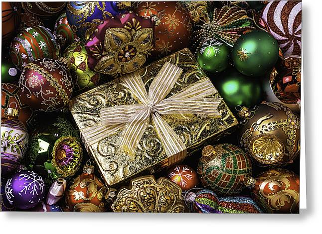 Spheres Greeting Cards - Gold Gift Box Greeting Card by Garry Gay