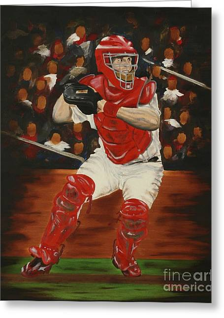 Baseball Paintings Greeting Cards - Gold Glove Greeting Card by Terry  Hester