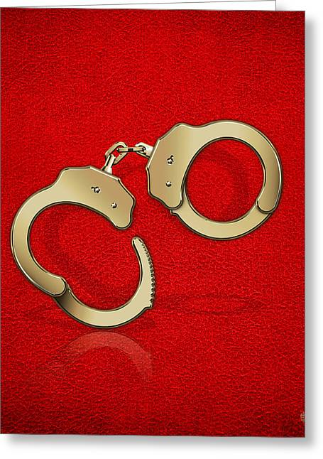 Police Art Greeting Cards - Gold Handcuffs on Red Leather Background Greeting Card by Serge Averbukh