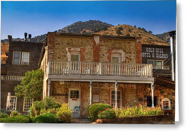 Goldrush Greeting Cards - Gold Hill Hotel and Saloon Greeting Card by Donna Kennedy