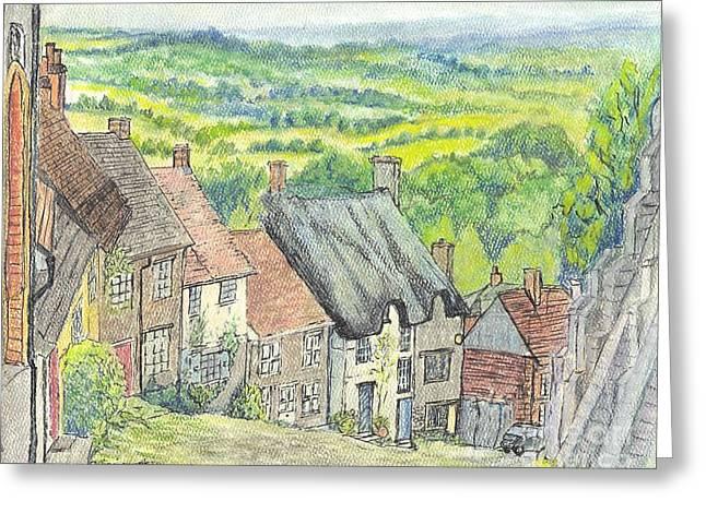 Thatch Pastels Greeting Cards - Gold Hill Shaftesbury Dorset England Greeting Card by Carol Wisniewski