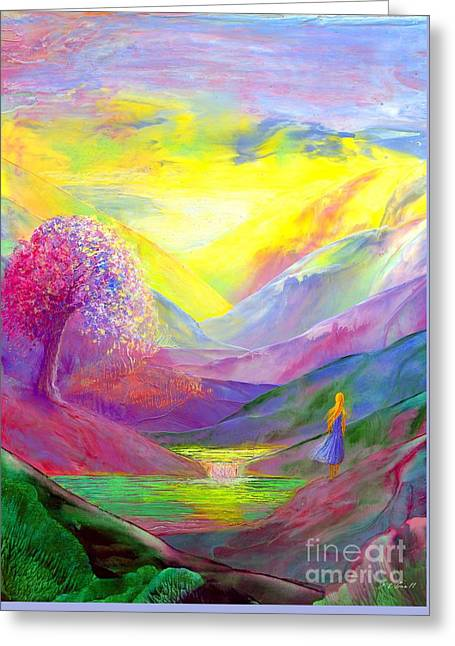 Sympathy Paintings Greeting Cards - Gold Horizons Greeting Card by Jane Small