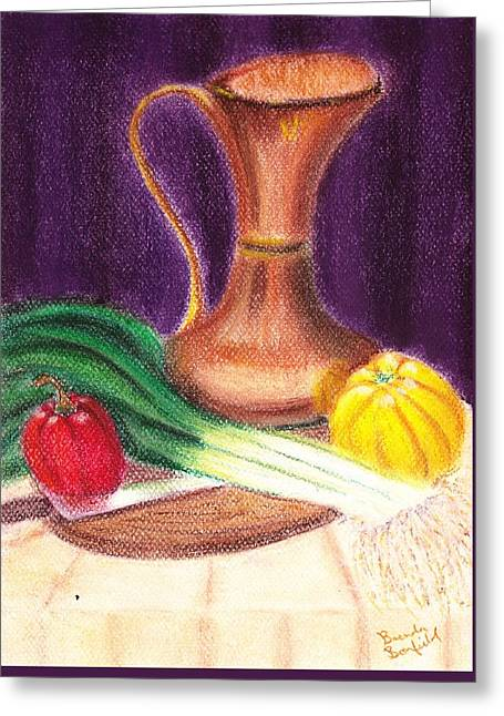 Jugs Pastels Greeting Cards - Gold Jug Greeting Card by Brenda Bonfield