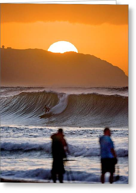 Surfing Art Greeting Cards - Gold Kaena Sunset Greeting Card by Sean Davey