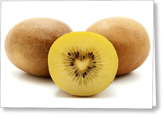 White Background Greeting Cards - Gold kiwifruit Greeting Card by Fabrizio Troiani