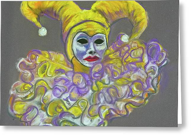 Jester Pastels Greeting Cards - Gold Lady Jester Greeting Card by Trish Bilich