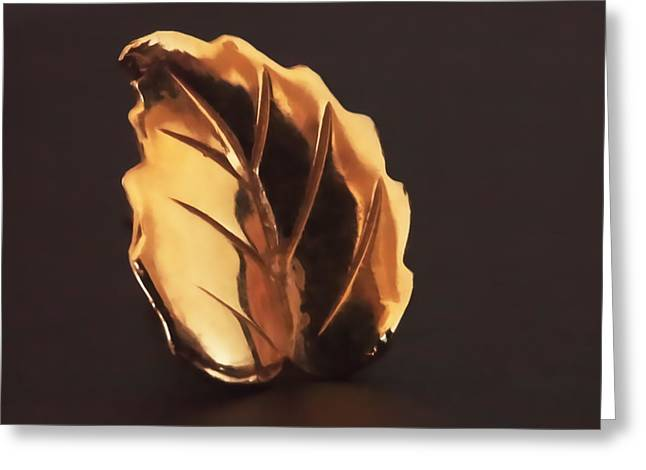 Leafs Greeting Cards - Gold Leaf Greeting Card by Rona Black