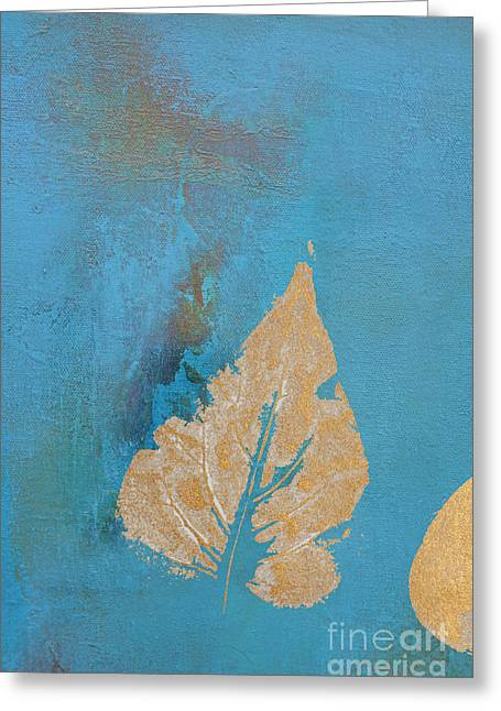 Gilding Greeting Cards - Gold Leaf Series 1 - Blue Greeting Card by AdSpice Studios