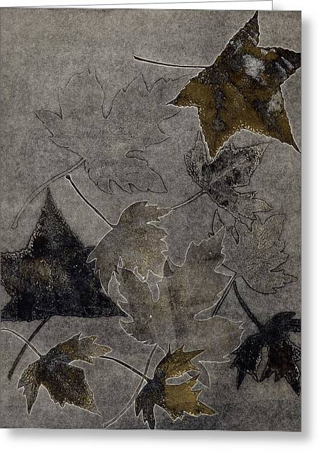 Fallen Leaves Reliefs Greeting Cards - Gold Leaves Greeting Card by Theresa Khong