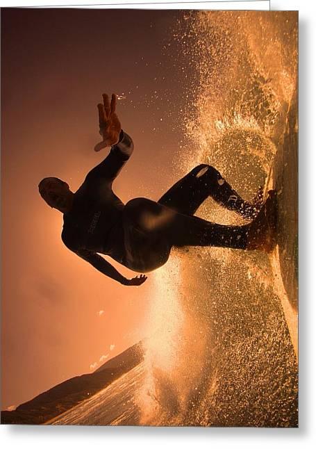 Surf Silhouette Paintings Greeting Cards - Gold Lip Greeting Card by Waldemar  Van Wyk