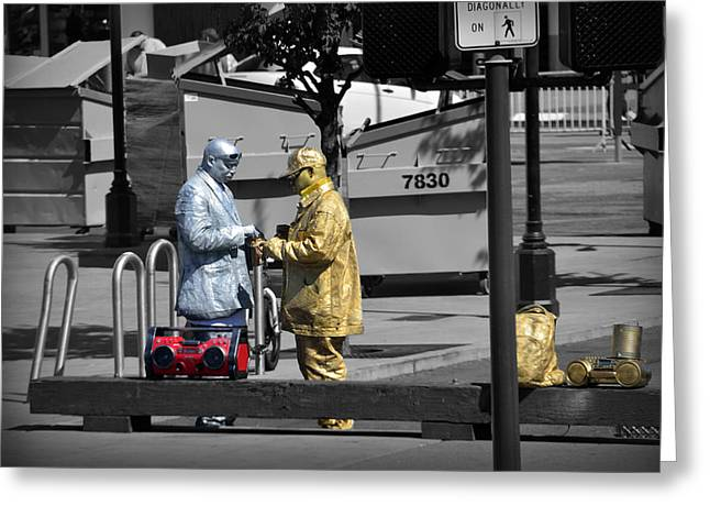 Talking Greeting Cards - Gold man and silver man Greeting Card by RicardMN Photography
