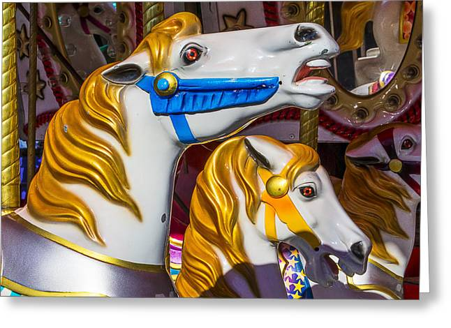 Amusements Greeting Cards - Gold Mane Carrousel Horse Greeting Card by Garry Gay