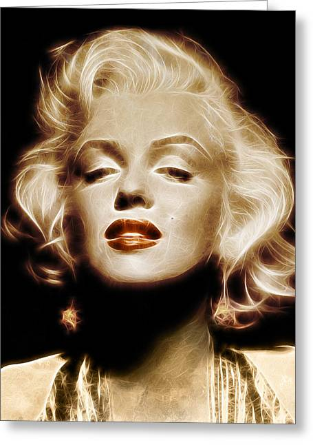 Marilyn Greeting Cards - Gold Marilyn Monroe Greeting Card by - BaluX -