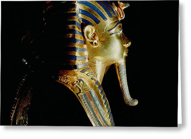 False Greeting Cards - Gold Mask Of Tutankhamun, From The Tomb Of Tutankhamun, C.1370-1352 Bc New Kingdom Gold Inlaid Greeting Card by Egyptian 18th Dynasty