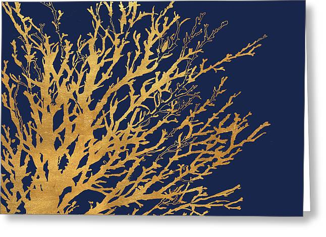 Gold Medley On Navy Greeting Card by Lanie Loreth