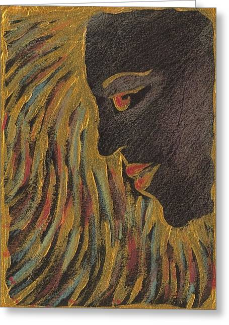 Medusa Mixed Media Greeting Cards - Gold Medusa Greeting Card by Nina Shilling