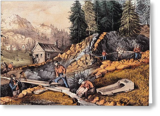 Shack Greeting Cards - Gold Mining in California Greeting Card by Currier and Ives