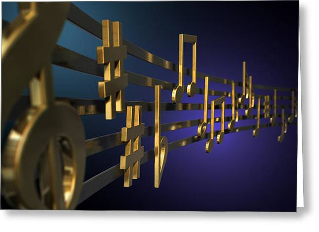 Clef Greeting Cards - Gold Music Notes On Wavy Lines Greeting Card by Allan Swart