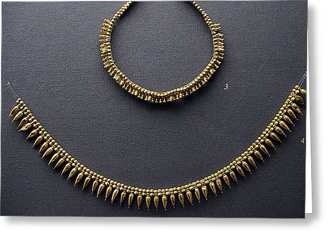 Gold Necklace Greeting Cards - Gold necklace Greeting Card by Andonis Katanos
