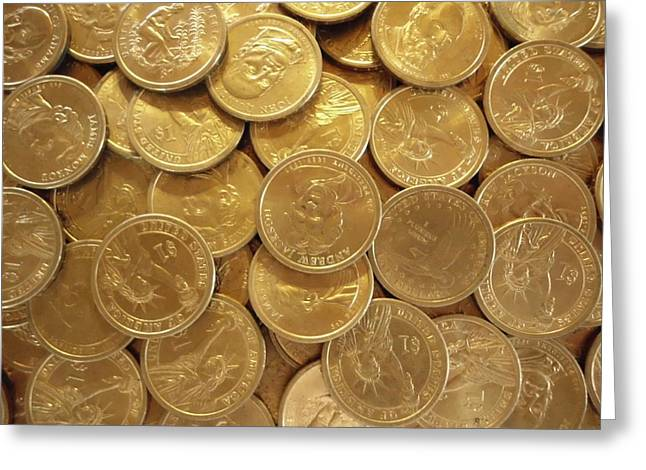 U.s. Coins Greeting Cards - Gold Nuggets Greeting Card by Erica  Darknell