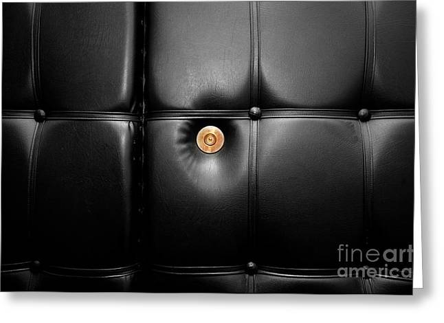 Peepholes Greeting Cards - Gold peephole in luxury leather door Greeting Card by Michal Bednarek