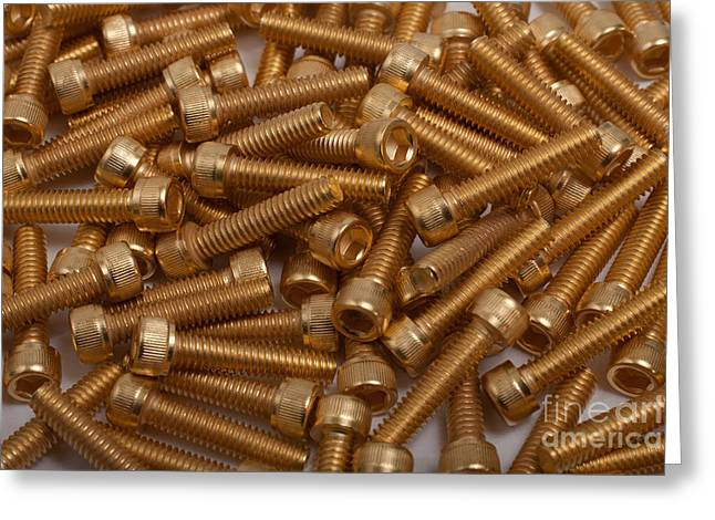 Recently Sold -  - Industrial Background Greeting Cards - Gold Plated Screws Greeting Card by Gunter Nezhoda