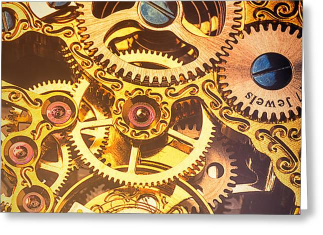 Gold pocket watch gears Greeting Card by Garry Gay
