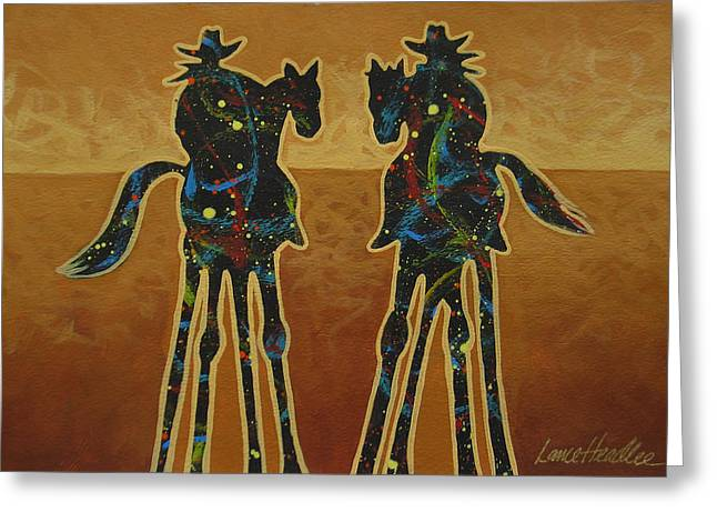 Contemporary Cowgirl Gallery Greeting Cards - Gold Riders Greeting Card by Lance Headlee