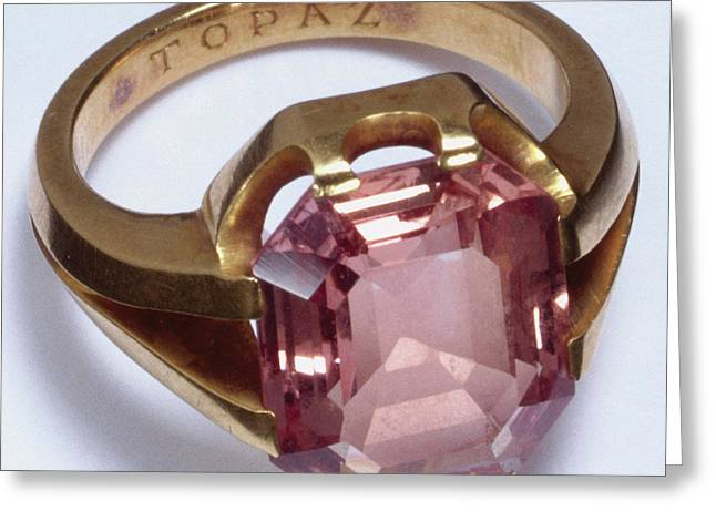 Gold Ring With Eight-sided Topaz Greeting Card by Dorling Kindersley/uig