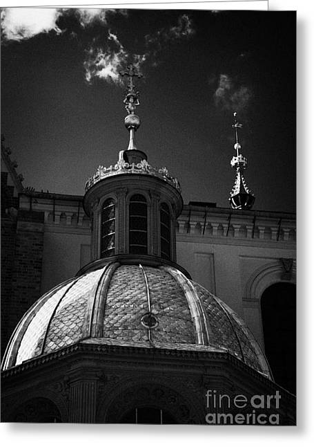 Polish City Greeting Cards - gold roof of Sigismunds chapel in Wawel cathedral wawel castle hill krakow Greeting Card by Joe Fox