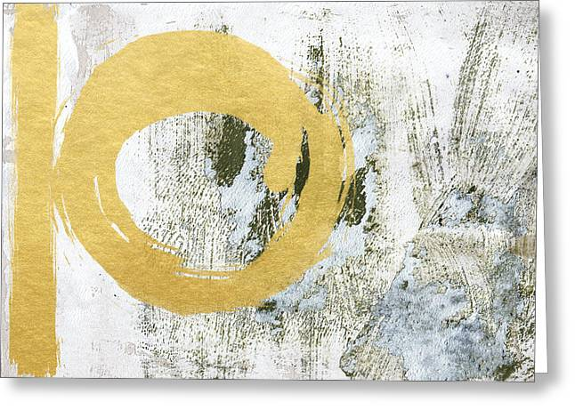 Circles Greeting Cards - Gold Rush - Abstract Art Greeting Card by Linda Woods