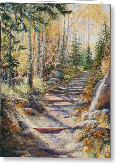 Hiking Pastels Greeting Cards - Gold Rush Greeting Card by Mary Giacomini