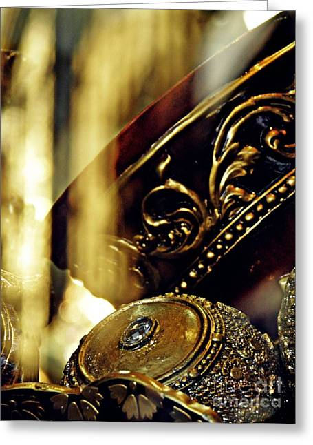 Precious Metal Greeting Cards - Gold Greeting Card by Sarah Loft