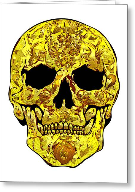Scull Greeting Cards Greeting Cards - Gold Skull Greeting Card by Mauro Celotti