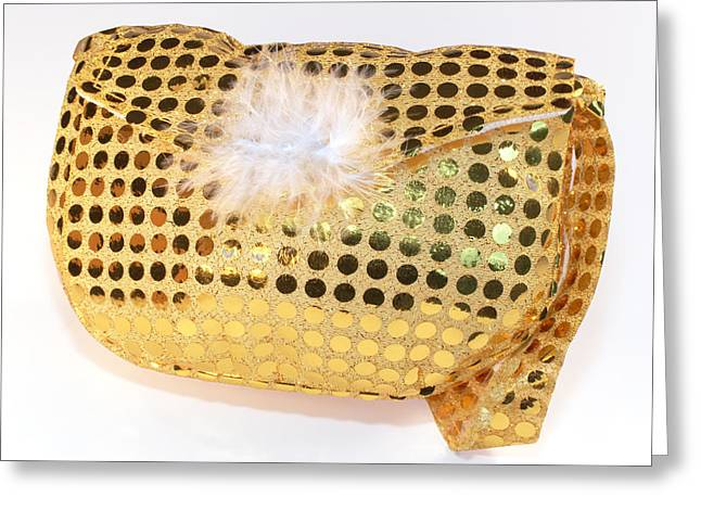 Evening Handbag Greeting Cards - Gold sequin purse Greeting Card by Jo Ann Snover