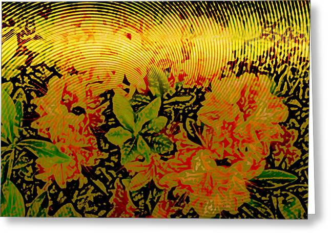 Metallic Sheets Digital Greeting Cards - Gold Sheet Floral 1 Greeting Card by Patricia Keith