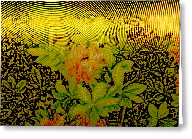 Metallic Sheets Digital Greeting Cards - Gold Sheet Floral 2 Greeting Card by Patricia Keith