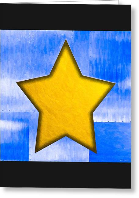 Gold Star From Out Of The Blue Greeting Card by Mark E Tisdale