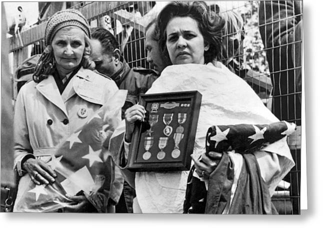 Gold Star Mothers Protest War Greeting Card by Underwood Archives