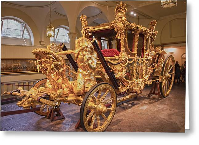 Family Buckingham Palace Greeting Cards - Gold State Coach Queen Elizabeth II Greeting Card by David French