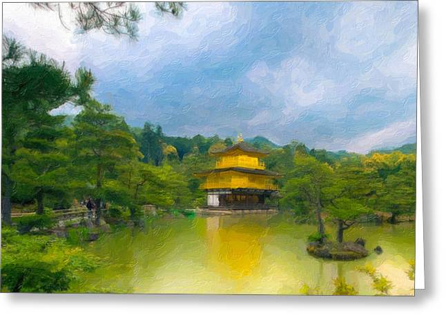Statue Portrait Paintings Greeting Cards - Gold temple japan Greeting Card by Lanjee Chee